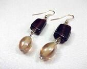 Brown & Tan Glass Bead Dangle Earrings