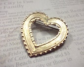 Upcycled Vintage Gold Heart Brooch