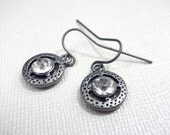 Antique Silver Jeweled Round Earrings