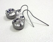 Antique Silver Jeweled Dangle Earrings