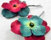 Teal & Magenta Paper Flower Hairpins