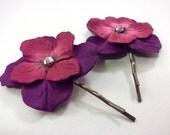 Magenta & Purple Paper Flower Hairpins