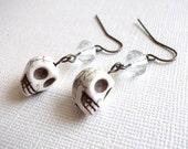 Clear Bi-cone Skull Dangle Earrings