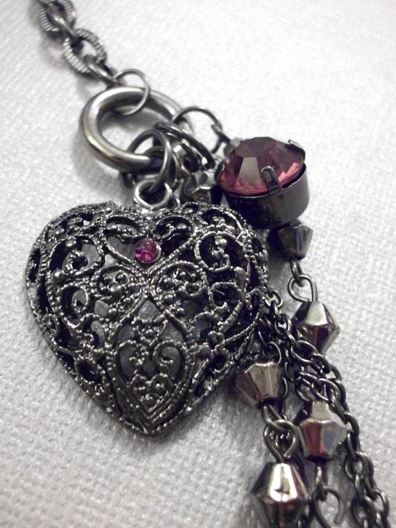 Gunmetal Purple Jeweled Heart Necklace