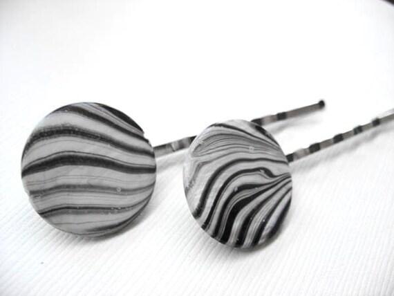 Zebra Striped Hair Pins