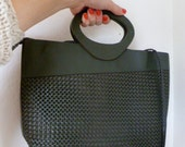 Vintage Woven Purse 80s 1980s Faux Leather Dark Olive Green Handbag Long Strap Bag