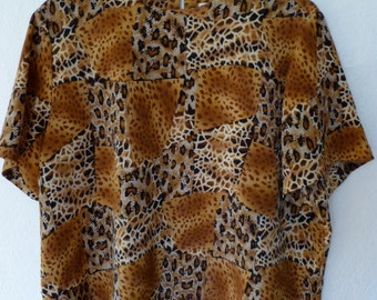 Womens Blouse Vintage Animal Print Short Sleeve