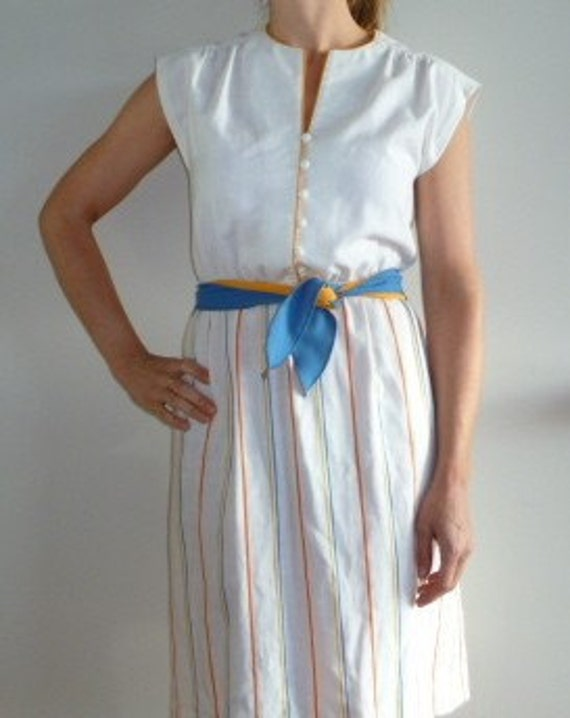 Vintage Striped Dress Sleeveless Yellow Blue White Summer Beauty