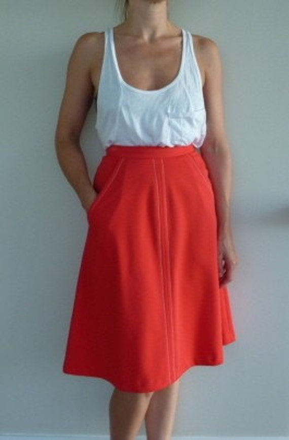 Vintage Midi Skirt Long Full Bright Bold Color Coral Contrast Stitching