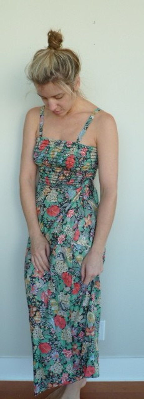 Vintage Floral Dress Printed Flower Pattern Maxi Midi Sleeveless Tube Top Long Tank