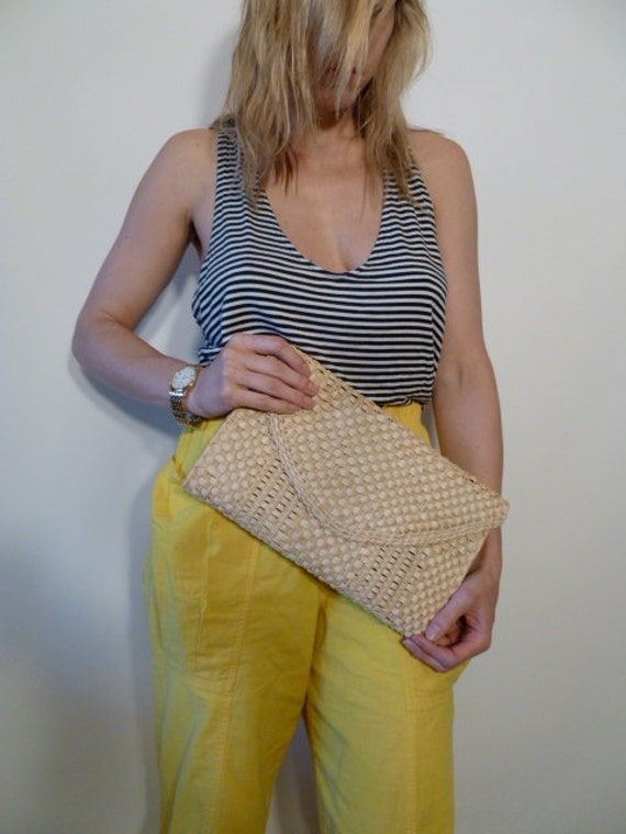 Vintage Rattan Weaved Clutch