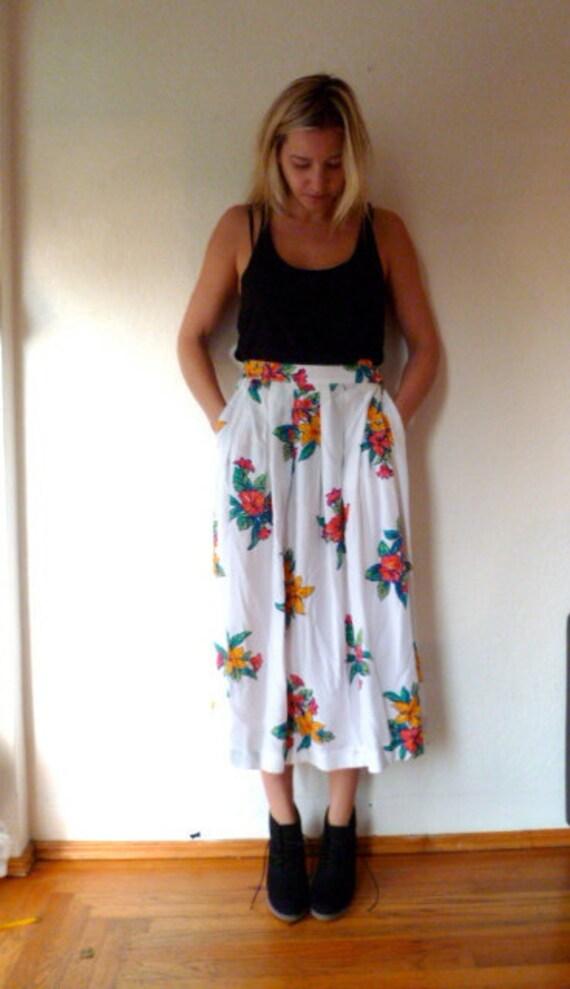 Vintage Skirt Floral Pattern Print Long Maxi Midi Floral