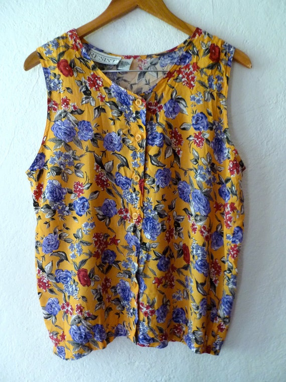Floral Tank Top Flowers Sleeveless Shirt Yellow Purple Leaves Petals Summer Spring Beach Vacation