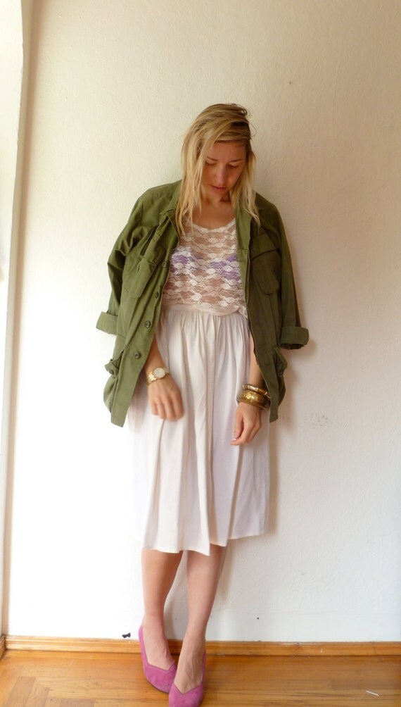 Vintage Skirt White Long Midi Maxi White Summer Full Gathered Spring S Small