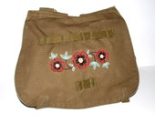 Olive Canvas Military Bag - Poppies - Custom Embroidered Design