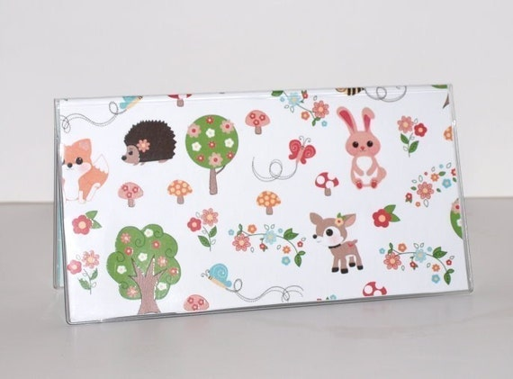 CYBER MONDAY SPECIAL Checkbook Cover - Twitterpated in White