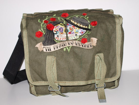 Canvas Military Rucksack - Till Death Do Us Part - OOPS - Custom Embroidered Design
