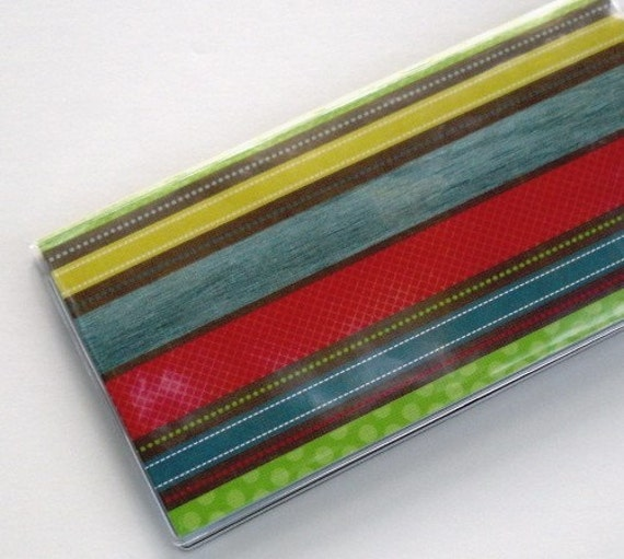 Checkbook Cover - Going Green Series - Basic Stripes Recycled Paper  LAST ONE
