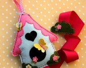 Whimsical Bird House Hair Bow Holder, with Butterflies, Felt bow holder, Storage, Organizer