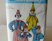 Vintage 1975 Simplicity Clown Boys/Girls Costume Pattern