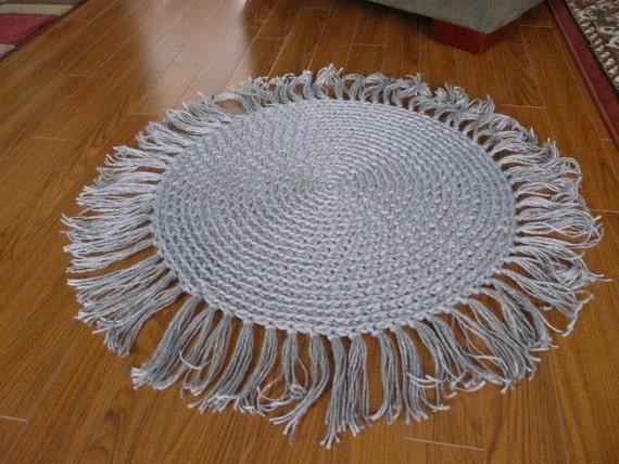 Round Gray Rug With Fringe