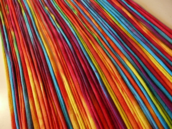 Recycled T shirt Yarn Strips-Rainbow Tie Dye- Rt578