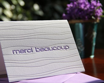 CLEARANCE : Set of 6 | Wave Background Letterpress Thank You | Merci Beaucoup Cards