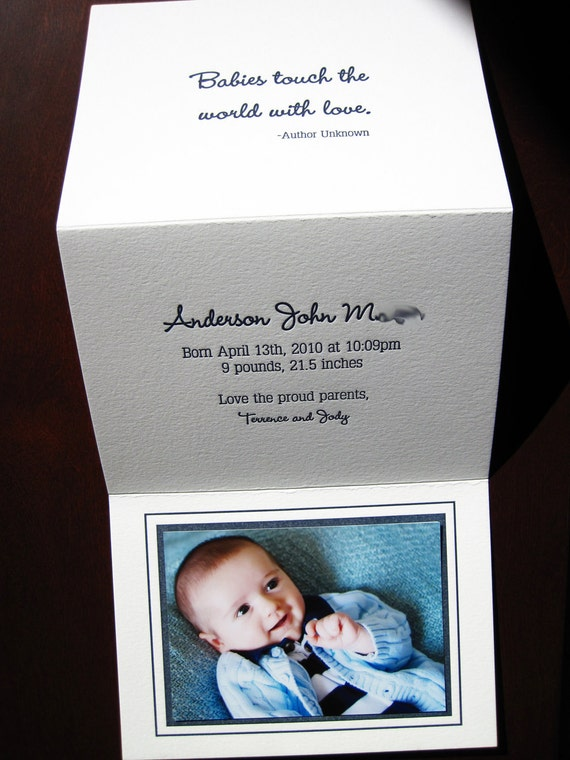 Custom Letterpress Baby Announcement (Trifold)