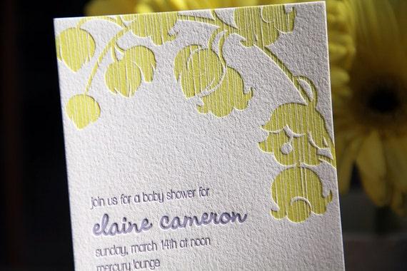 Custom Letterpress Shower Invitation