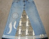 Long Denim Dream Catcher with Feathers Skirt 36 inch waist