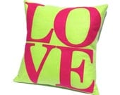 "LOVE Pillow Cover Appliqued Eco-Felt in Spring Green and Pink 18"" - Bright Home Decor"