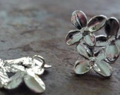 2Pc. Silver Flower Post Earring with Loop for bead