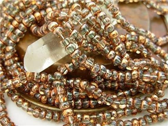 """6/0 Czech Glass Seed Beads- Crystal/ Apollo Gold (3/20"""")"""