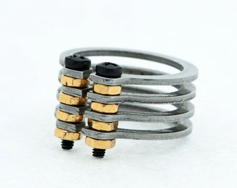 V4 G Ring - Steampunk - Industrial - Urban - Innovative Design By maker Gal Barash-MJ