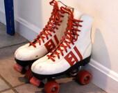 Vintage White and Red Roller Skates