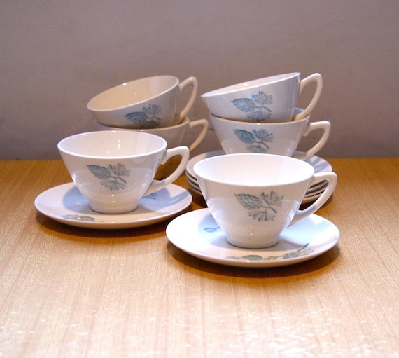 Blue Pine Cone Cup and Saucer Set - Marcrest Pottery Vintage