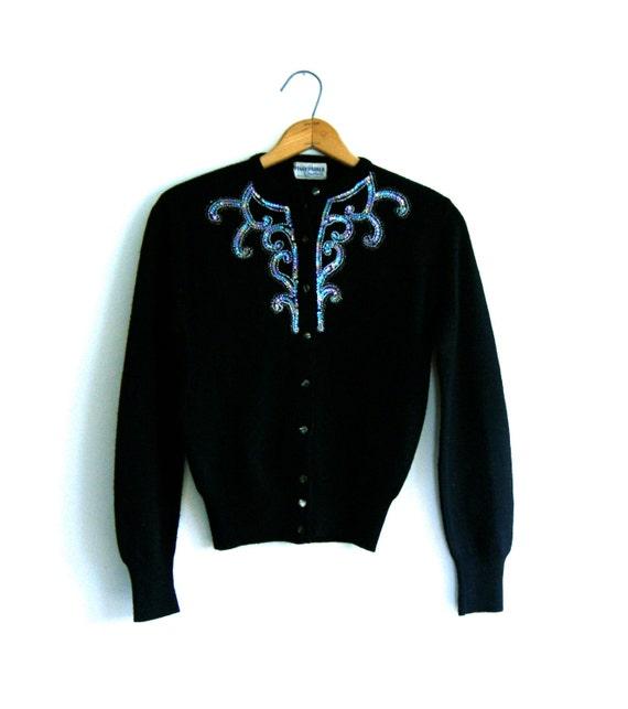 Black Beaded Cardigan Sweater - Vintage