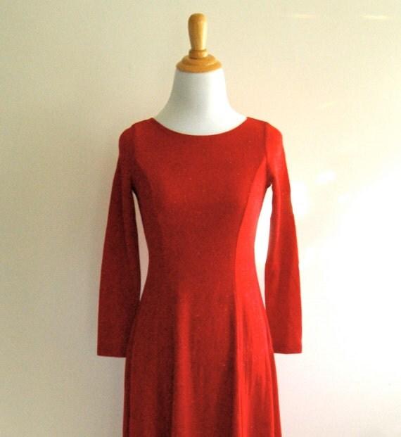 Red Shimmer Dress - Vintage - JV
