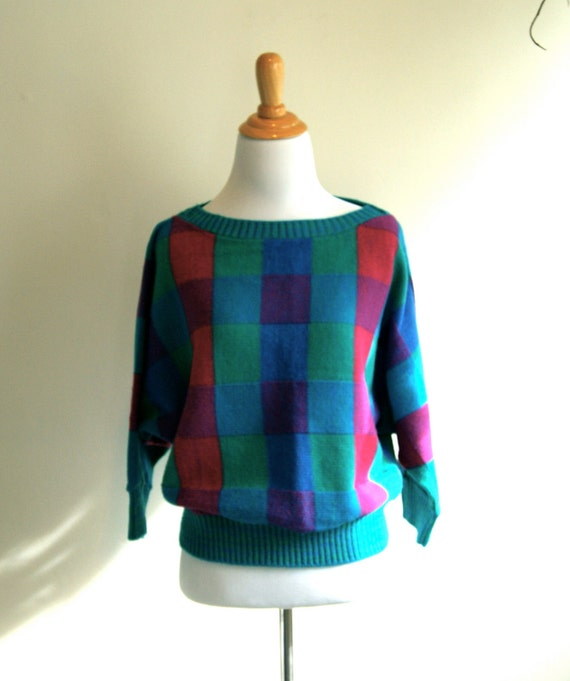Colorful Batwing Spring Sweater - Vintage