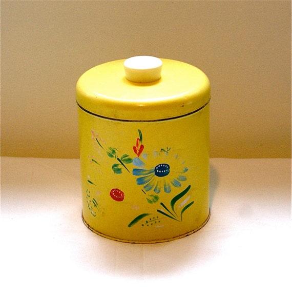 Yellow Tin Storage Container - Vintage Ransburg