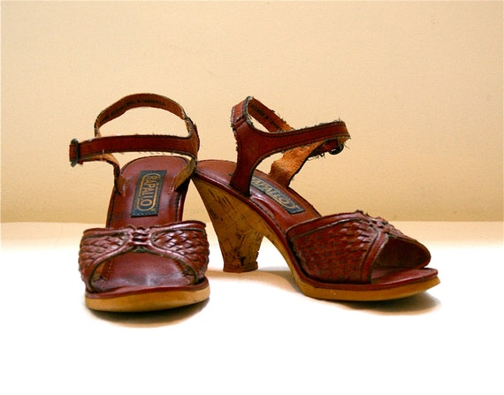 Cork Heeled Woven Sandals 7 - Vintage 70's-80's