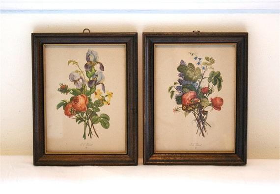 Set of Framed Botanical Prints - Vintage J.L. Prevost