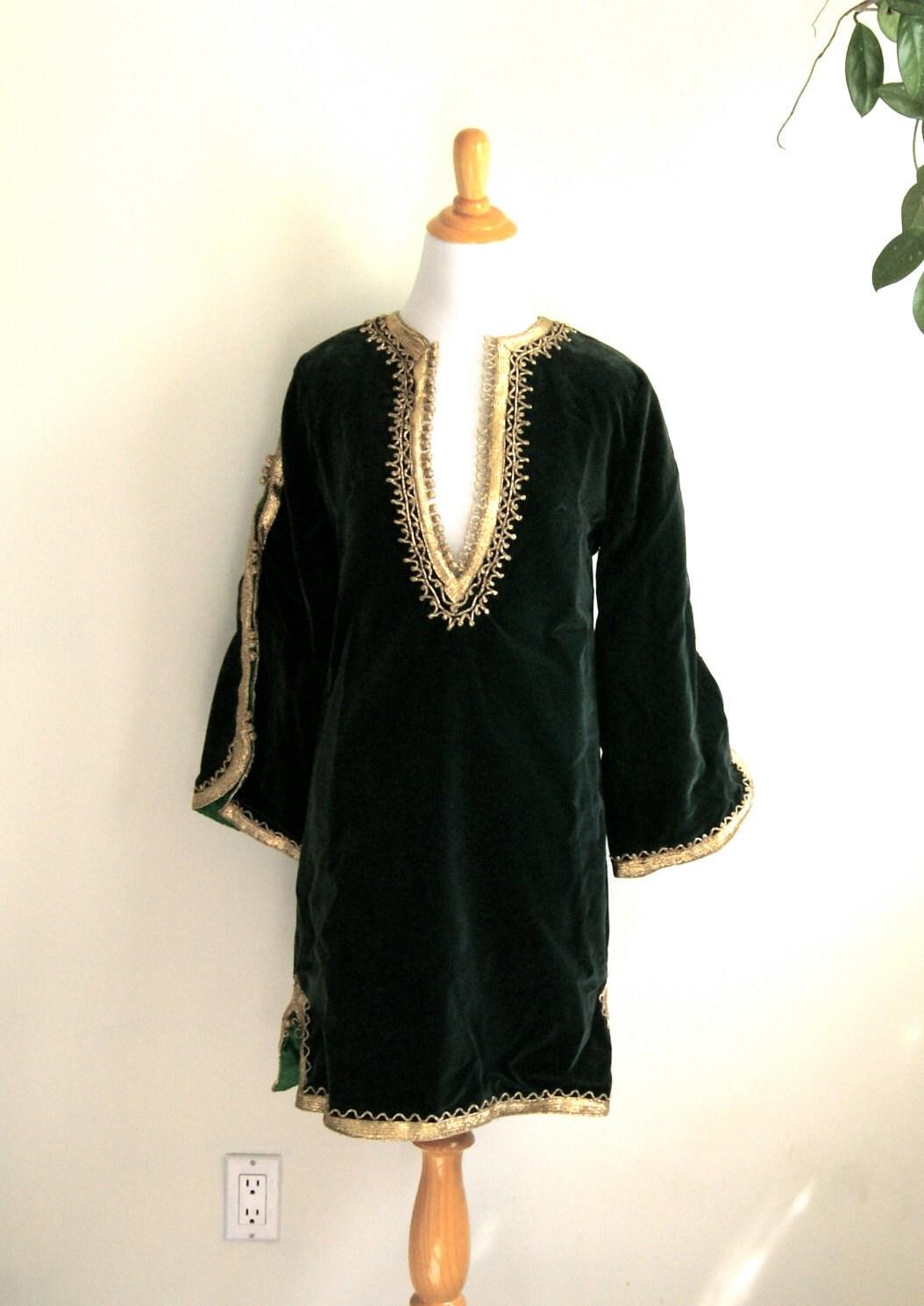 Emerald Green Velvet Tunic Dress With Metallic Gold Trim