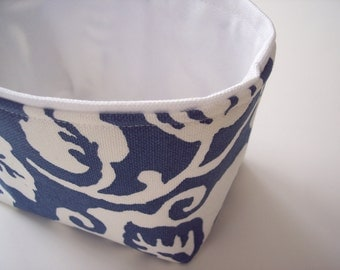 mini fabric storage bin // small basket // bin // a pretty blue and white vine design