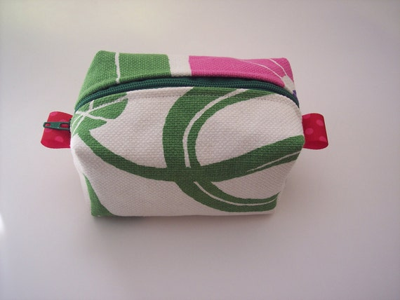 cute boxy pouch - pink and green marimekko