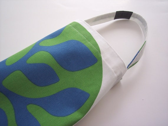 plastic bag holder in fun green and blue tree design