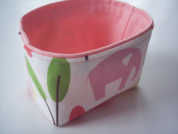 elephant fabric mini bin with bubblegum pink lining - perfect for nursery