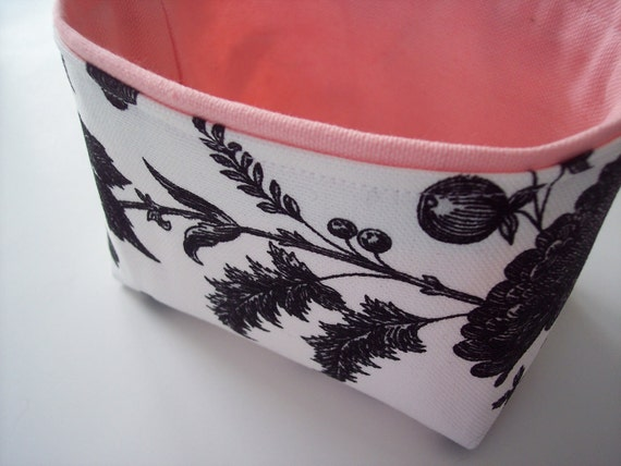black, white and bubblegum pink mini fabric bin // storage basket