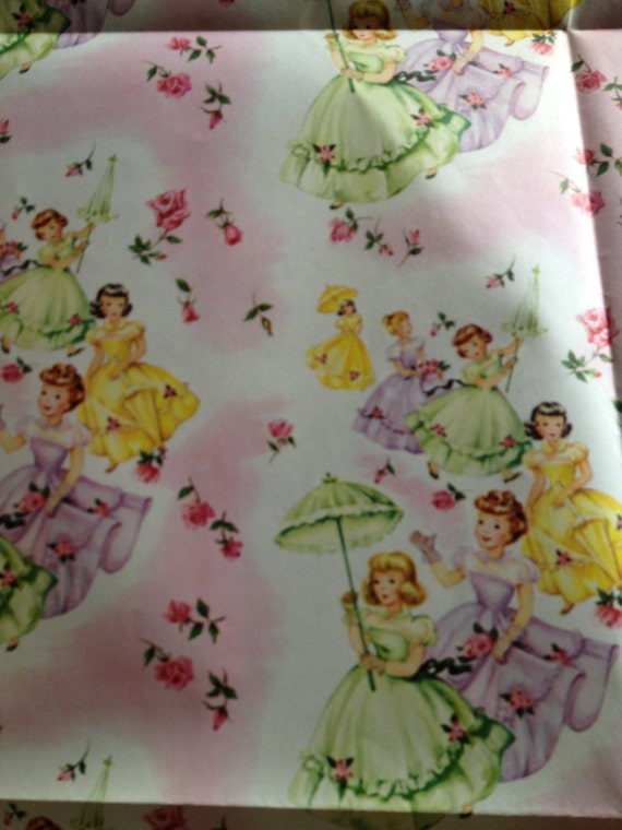 Vintage Unused Sheet of Little Girl Party Wrapping Paper