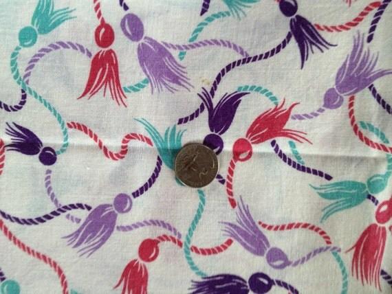 Reserved for Shannon-1/2 Vintage Feedsack Purple Lavender Teal Tassels